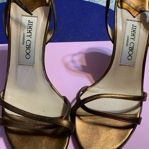 Jimmy Choo Metallic Bronze 'Juliet' Strap Heels
